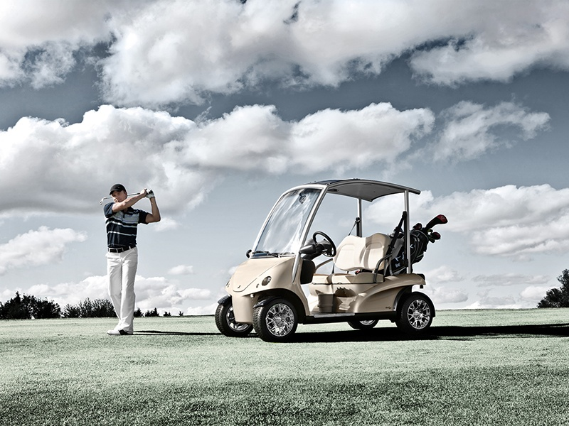 The high-spec golf cars from Garia come complete with everything a golfer might need—from ball and tee holders, to cupholders and a charging port for devices.