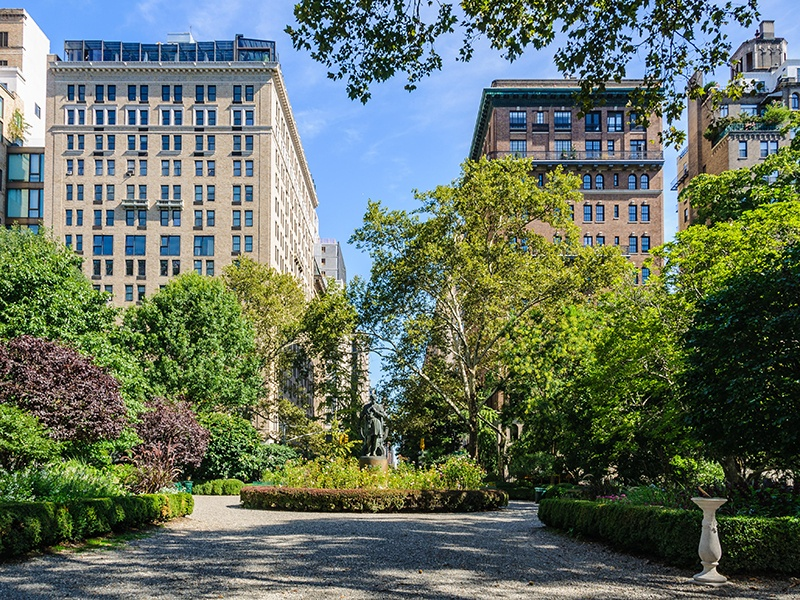 Only residents living in the townhouses and apartments surrounding Gramercy Park are granted keys to the private, gated green space. Photograph: Alamy