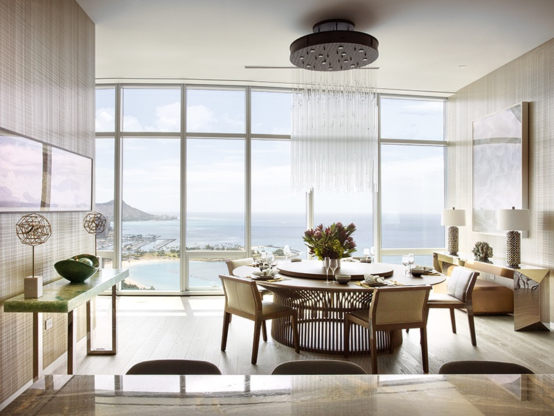 Occupying the 36th floor of Waiea Tower within the world-class Ward Village, this Grand Penthouse has private elevator access, five bedroom suites, and a spectacular open-plan living space with integrated kitchen and dining room. Photograph: Paul Raeside