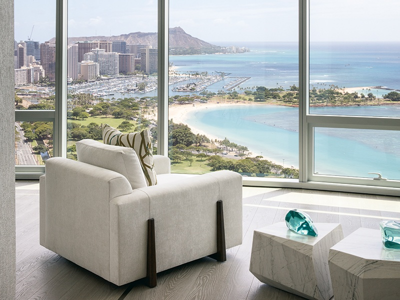 The penthouse's view-oriented living spaces provide room enough for the biggest party, and charm enough for the coziest get-together. Photograph: Paul Raeside