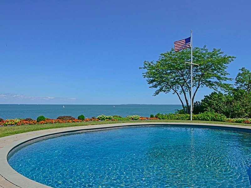 Grand Shelter Island waterfront estate overlooking Gardiners Bay is a 5.4-acre property, offers 8,000 square feet of living space, and an outdoor pool.