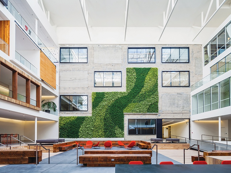 Airbnb is the primary tenant of 888 Brannan Street in San Francisco, where the foyer features a green wall by GSky that stretches three stories high.