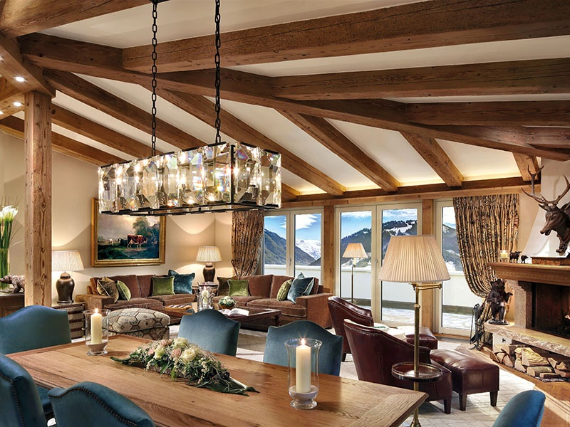 Gstaad Palace's three-bedroom Penthouse suite, at an extremely comfortable 2,583 square feet, features a private sauna in one of the towers.