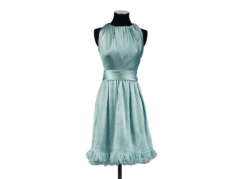 Couturier Hubert de Givenchy was first hired at Audrey Hepburn's suggestion to design the actress's wardrobe for her second Hollywood film, <i>Sabrina</i>. This blue satin Givenchy cocktail dress was worn by Hepburn in a fashion editorial promoting <i>Two for the Road</i> in 1966. Photograph: ©Christie's Images Limited 2017
