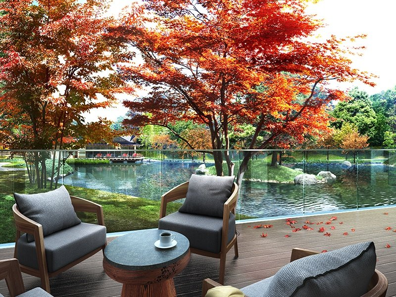 The property has been designed to maximize <i>kutsurgoi</i>, the art of Japanese relaxation, and residences feature panoramic views of the majestic pond garden and Kiyomizu Temple. Photograph: Japan Capital Realty, Inc.