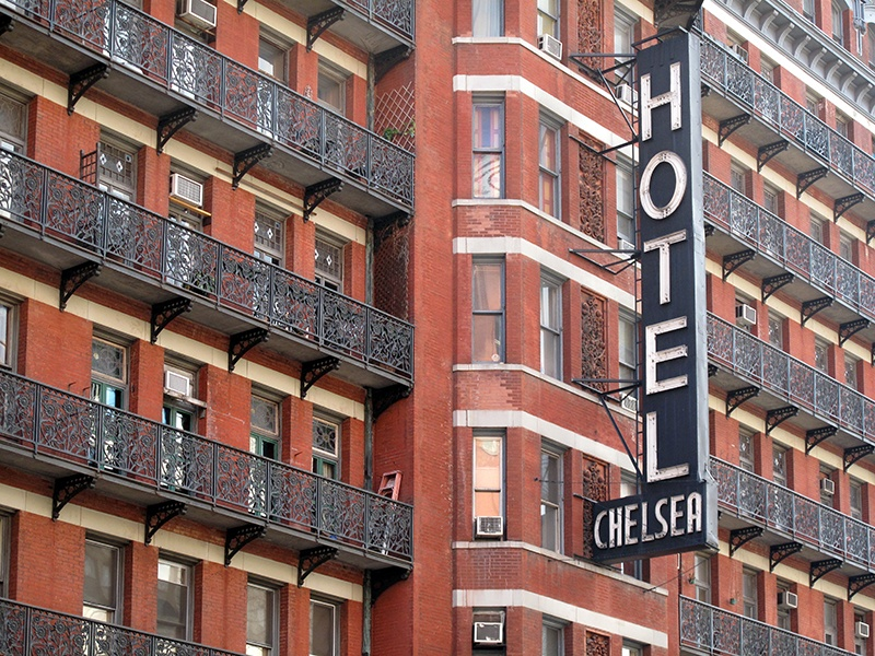 Myriad writers, musicians, artists, and actors have called the Chelsea Hotel home, and it has featured in just as many movies, songs, and literary works. Photograph: Getty Images