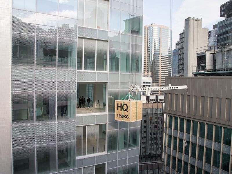 HQueen's features a lifting system to facilitate the delivery of artworks via an opening in the façade of the building on each gallery floor. Photograph: Courtesy of HQueen's