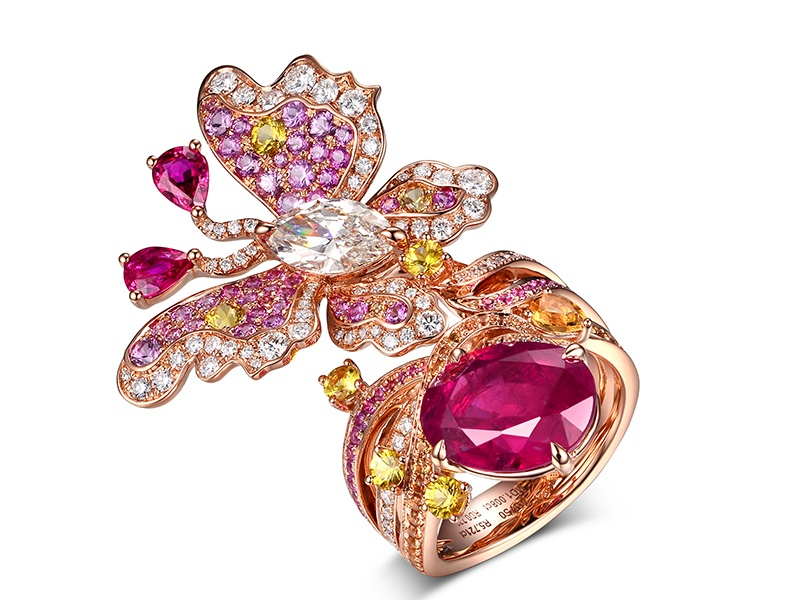 Clever craftsmanship is what sets James Ganh apart from other jewelry designers. His experimental and often elaborate creations include this ring, featuring a jeweled butterfly alighting on a ruby. Banner image: The Excalibur Spider Pirelli—Double Flying Tourbillon.