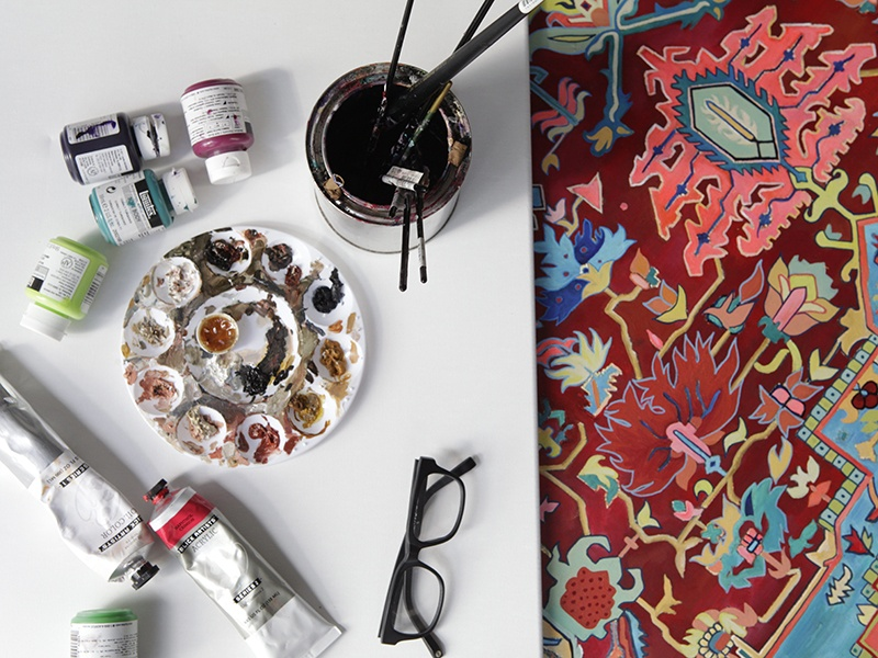 Jason Seife uses carefully chosen motifs and colors that reflect his mood when he is painting. Photograph: Graciela Cattarossi