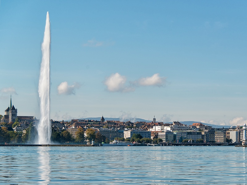 It's said that on a clear day, one can see Lake Geneva's Jet d'Eau from more than 30 miles away—in Switzerland and France. Photograph: Getty Images
