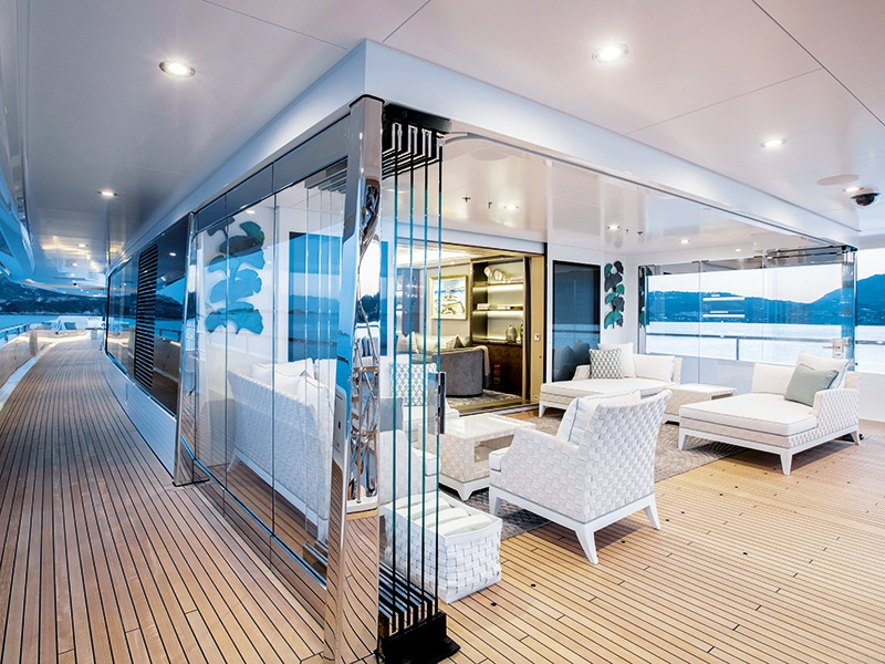 """Glass is used to great effect on board <i>Joy</i>, including the creation of indoor/outdoor """"winter gardens."""""""
