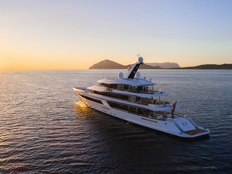 The superyacht <i>Joy</i>, designed specifically with the owner's lifestyle in mind. Banner image: <i>Anastasia</i>, built by Oceanco, boasts an interior and exterior designed by Sam Sorgiovanni.