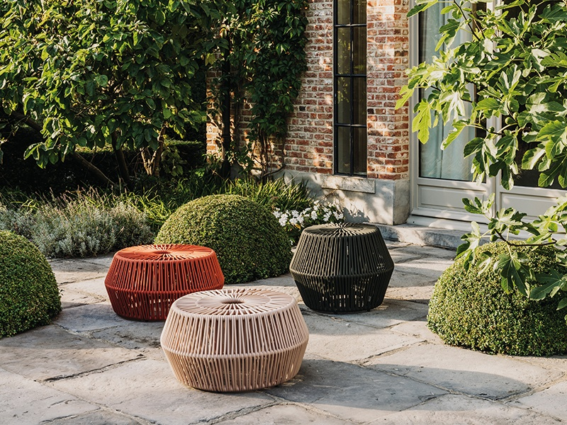 """Created by Emiliana Design Studio for Kettal, the ZigZag """"puffs"""" are available in 19 different colors, and can be topped with a coordinated or mix-and-match cushion."""