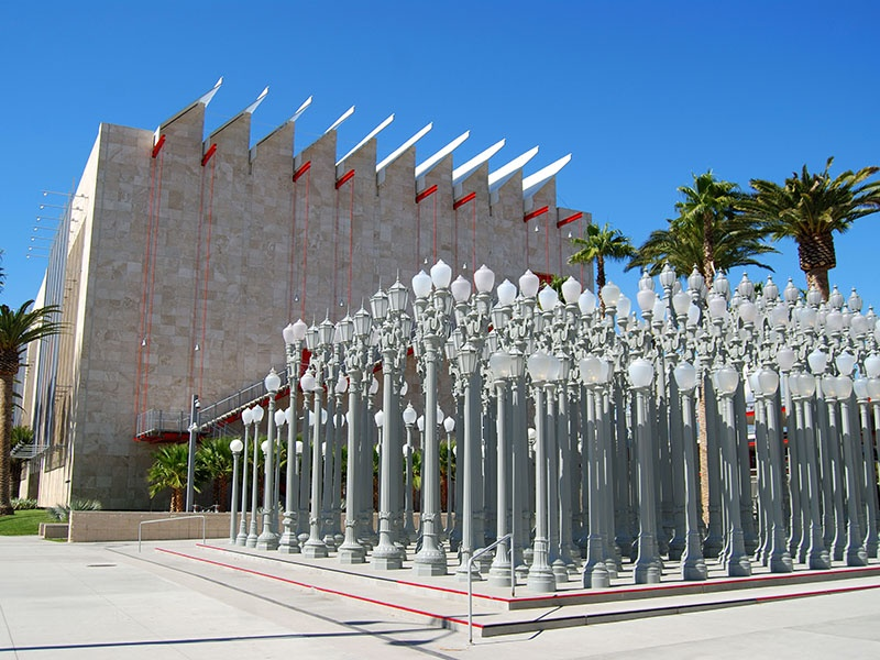 The Los Angeles County Museum of Art, or LACMA, is an LA institution. Banner image: <i>Urban Light</i> by Chris Burden, outside LACMA, comprises 202 restored street lamps from the 1920s and 1930s. Photographs: Getty Images
