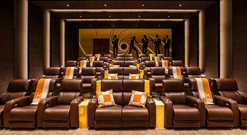 The 38,000-square-foot home comes complete with a 40-seat indoor theater. Photograph: Hilton & Hyland Real Estate/Rayni & Branden