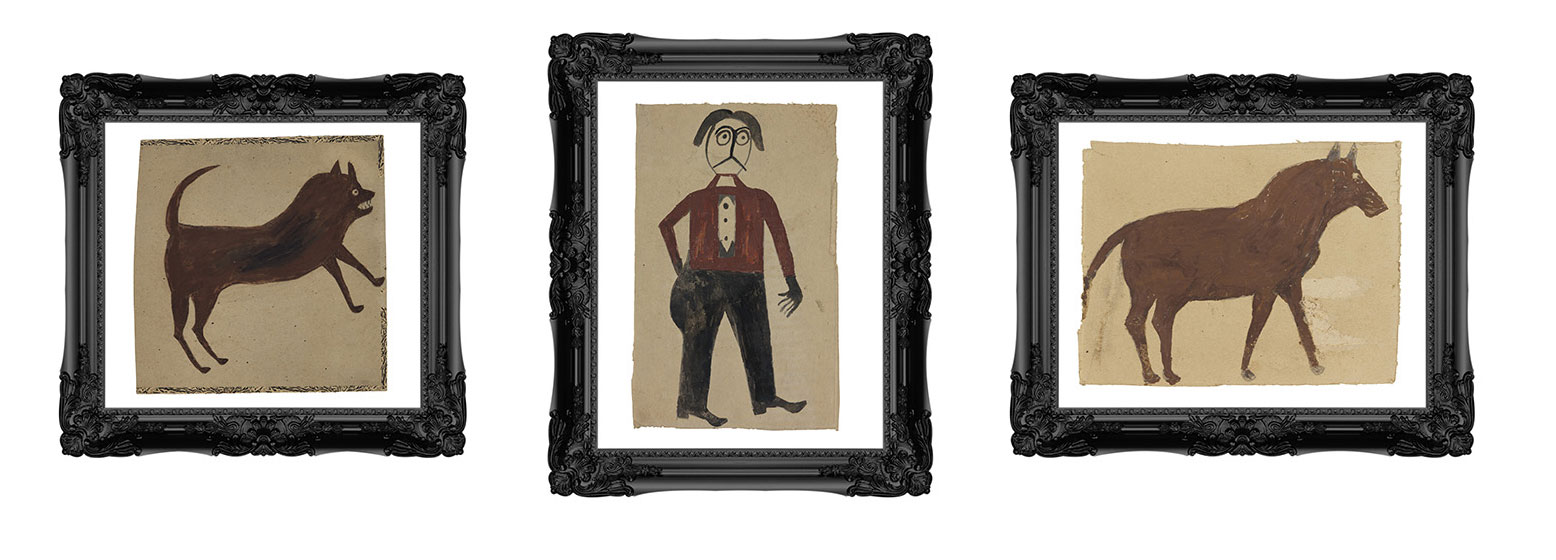 From left to right, Bill Traylor artworks: <em>Brown Dog, Man with Red Shirt, Brown Horse</em> in black frames.