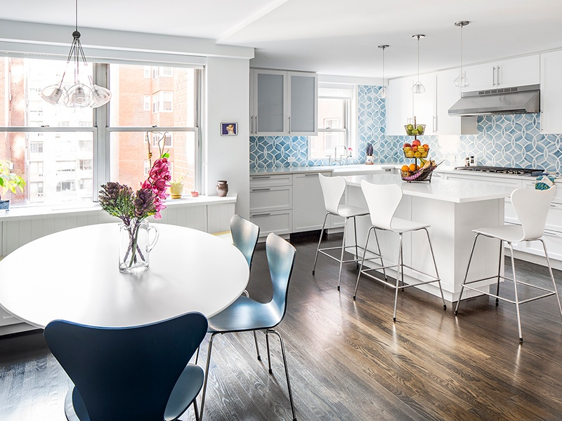 The owners' love of the ocean inspired the serene blues used throughout this Manhattan apartment renovation by James Wagman Architect. Photograph: Sean Litchfield