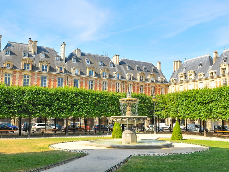 Often cited as the most beautiful gardens in Paris, Place des Vosges is the oldest planned square in the French capital, with its design stemming from the 17th century. Photograph: Shutterstock