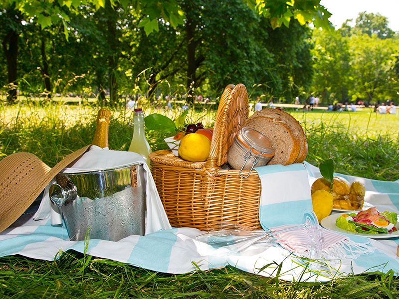 The sophisticated yet playful picnic includes classic fare such as chicken or poached salmon salad, a seasonal fresh fruit tart, and freshly squeezed lemonade.