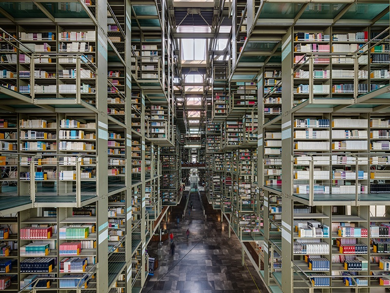 The steel, concrete, and glass Biblioteca Vasconcelos in Mexico City is situated within lush gardens, with the total space spanning 409,000 square feet (38,000 sq m).