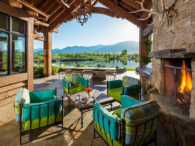 Located on 20 acres, the property benefits from vast views of the mountains and surrounding countryside but is only a short drive to downtown Bozeman. Photograph: PureWest Real Estate