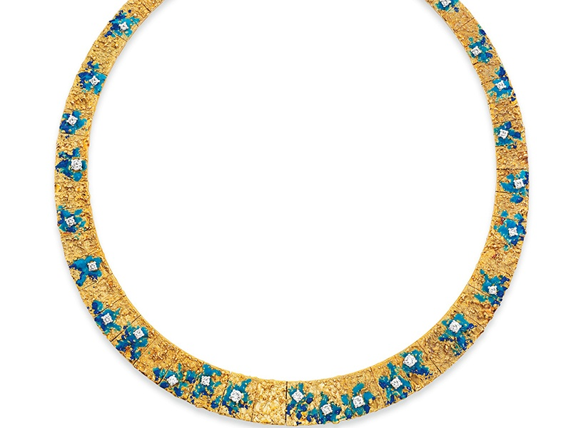 """The enamel and diamond-set """"Moon Crater"""" necklace was designed by Roy King, a 1960s English jeweler."""