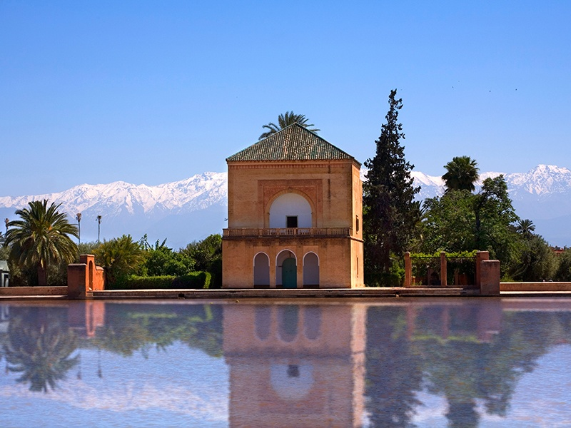 The Menara gardens have a pavilion and large pond at their heart, with the water serving as a reservoir to irrigate the surrounding agricultural land. Photograph: Alamy