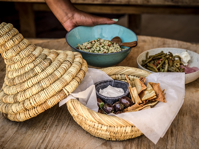 Traditional Greek dishes with a vegetarian focus are on offer at Scorpios, a chic beach bar on Paraga beach that is part of the Design Hotels group.