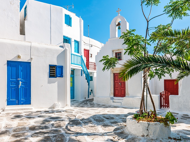 Numerous family chapels are nestled within the streets of Chora, and dotted across the island. Photograph: Getty Images