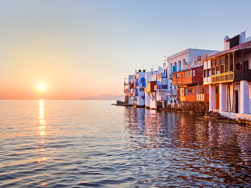 During the 16th and 17th centuries, Mykonos was an important shipping hub, and the buildings in Little Venice were built right on the shoreline to give captains and merchants direct access to the sea. Photograph: Getty Images