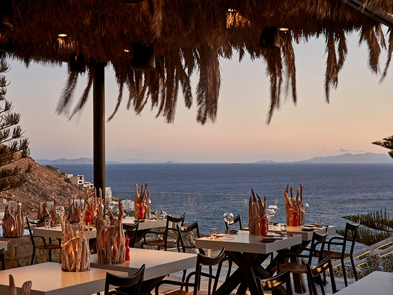 Watch the sun go down at Utopia's Pavilion Restaurant, which draws heavily on seasonal ingredients for its menu of mainly traditional Mediterranean dishes.