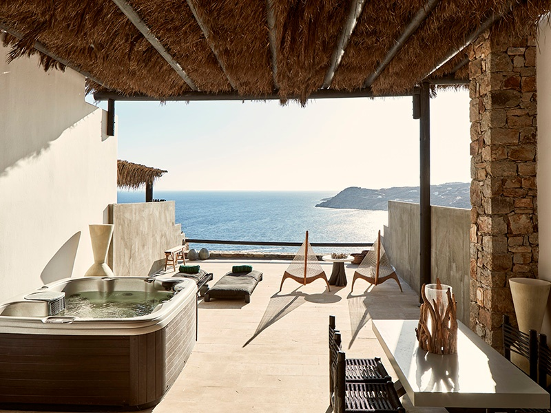 Rooms at the Myconian Utopia, part of the Myconian Collection, are carefully designed, incorporating natural materials. Private terraces looking out to the Aegean come complete with a Jacuzzi or infinity-edge plunge pool.