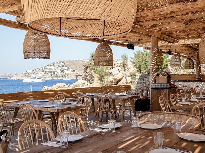 Scorpios reimagines the Greek agora, comprising a sunset terrace, several beach areas, an outdoor bar, a restaurant, and its own bazaar.