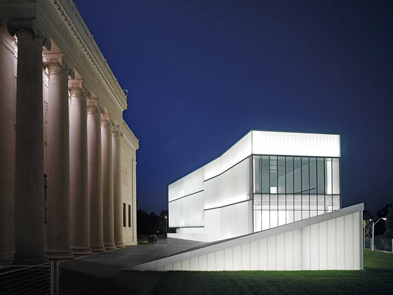 """At the Nelson-Atkins Museum of Art in Kansas City, glass """"lenses inject varying qualities of light into the galleries during the day; at night the internal light makes them glow like lanterns,"""" explains Steven Holl Architects' Chris McVoy. Photograph: Andy Ryan"""