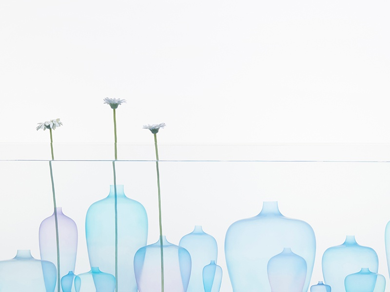 Nendo's ultrathin, silicon vases, to be introduced at the festival, undulate like jellyfish when placed in water. Photograph: Akihiro Yoshida