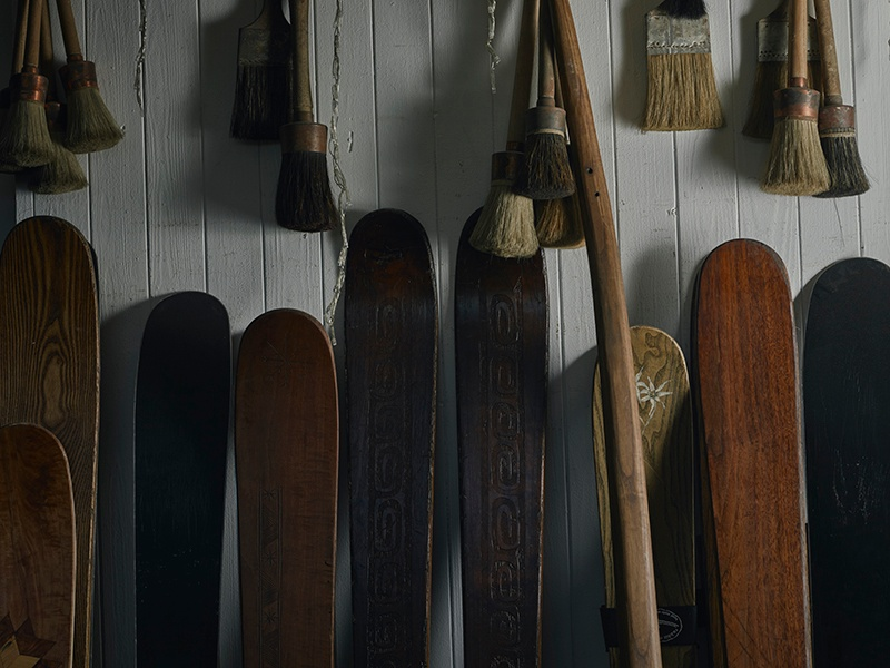 Every pair of Rabbit on the Roof skis is handmade to order for the individual skier. Photograph: Alexander James