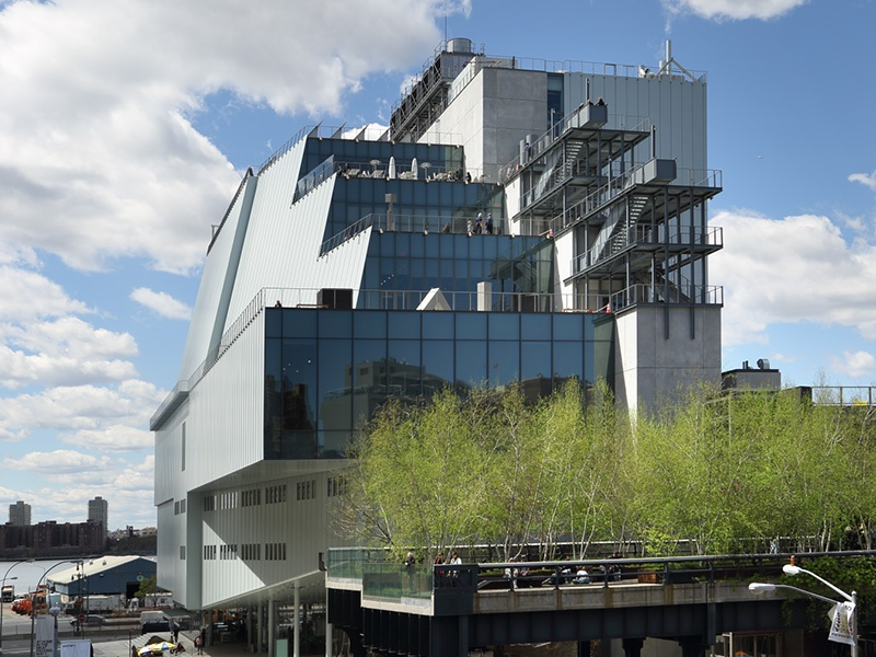 The strikingly asymmetrical Whitney museum, designed by architect Renzo Piano, is the result of a decade-long effort to find a larger home for the museum's collection of modern and contemporary American art. Photograph: Ed Lederman