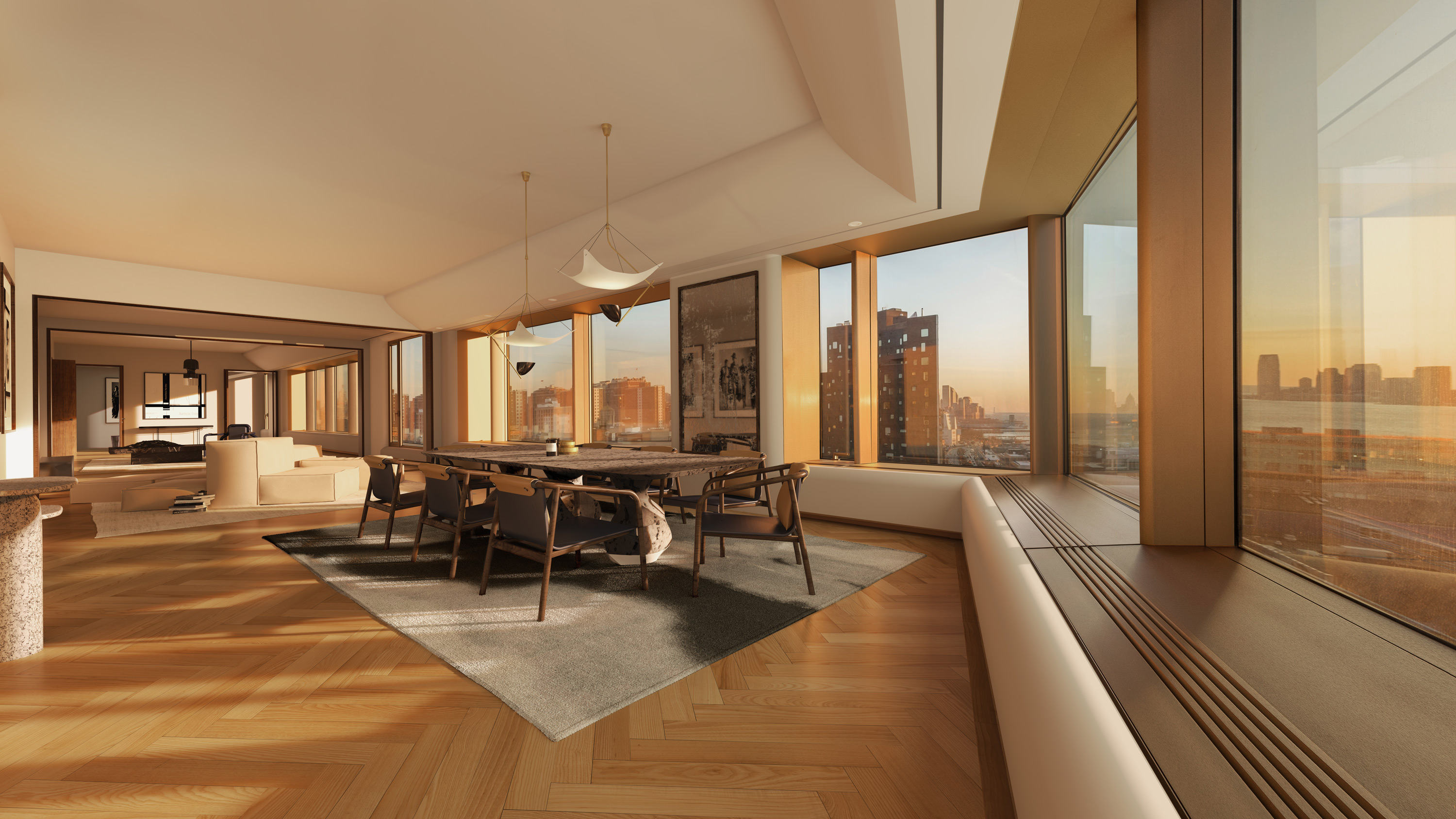 Views of the Hudson River and the dazzling New York City skyline can be seen from this extraordinary full-floor residence designed by Foster + Partners.
