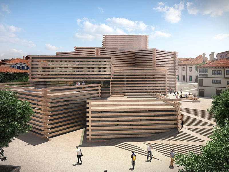 Kengo Kuma's Odunpazari Modern Art Museum in Eskisehir, Turkey. The stacked, interlocking boxes of varying sizes, which build toward the center of the structure, evoke the nearby traditional Ottoman wooden houses.