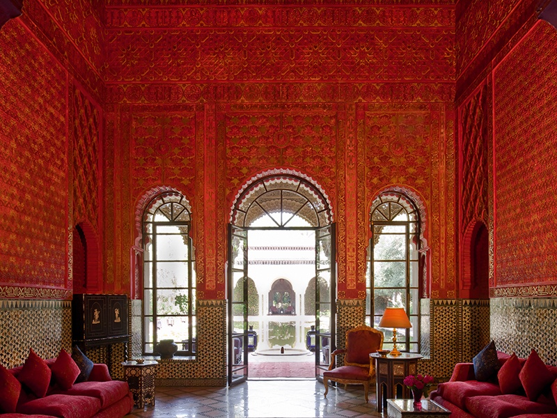 It took 1,300 craftsmen more than three years to finish this ornate palace in the Palmeraie district of Marrakech. Every surface—inside and out—is awash with pattern and color, from earthy greens, to subtle creams, to vibrant reds. On the market with Kensington Luxury Properties, the exclusive affiliate of Christie's International Real Estate in Morocco.
