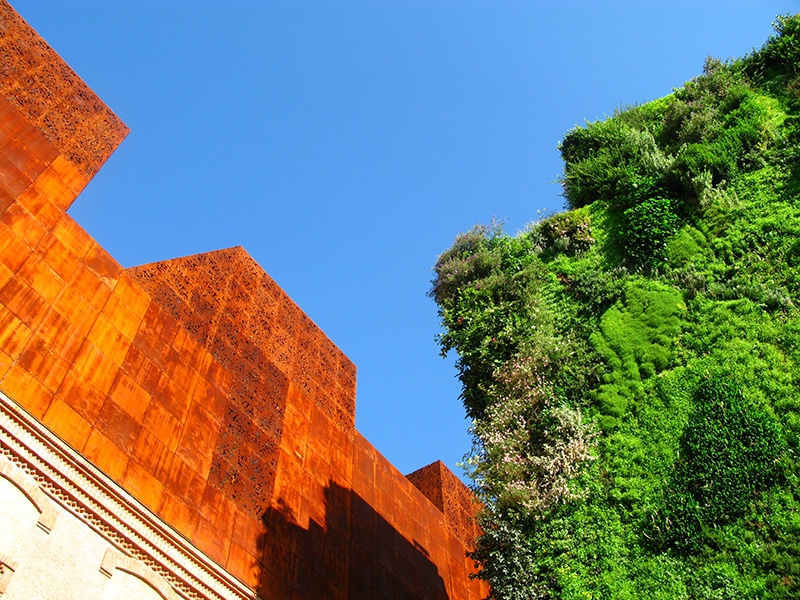To create Madrid's Caixa Forum arts center, architects Herzog & de Meuron renovated a former power station, and Patrick Blanc created the green wall.