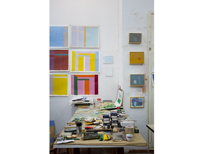 "Even if he does not paint every day, Pasta visits his studio to view his in-progress pieces, as ""this is what makes the work evolve."" Photograph: André Klotz"