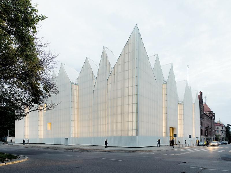 Estudio Barozzi Veiga's Philharmonic Hall in Szczecin, Poland, won the 2015 EU Prize for Contemporary Architecture–Mies van der Rohe Award. Photograph: Simon Menges