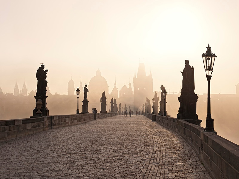 Prague's 14th-century Charles Bridge connects the city's Old Town with the Malá Strana, featuring Gothic architecture and Baroque statues of 30 saints. Photograph: Getty Images