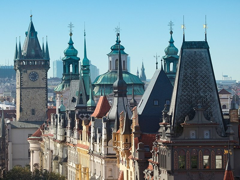 Pařížská Street is home to the shops of top Czech designers and boutiques from world-famous brands. Look up to take in the grand 19th-century buildings and their iconic spires. Photograph: Alamy