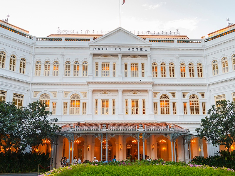 Opened in 1887, Raffles's colonial architecture is beautifully preserved. Guests have included Rudyard Kipling, Karl Lagerfeld, and Christian Louboutin. Photograph: Getty Images