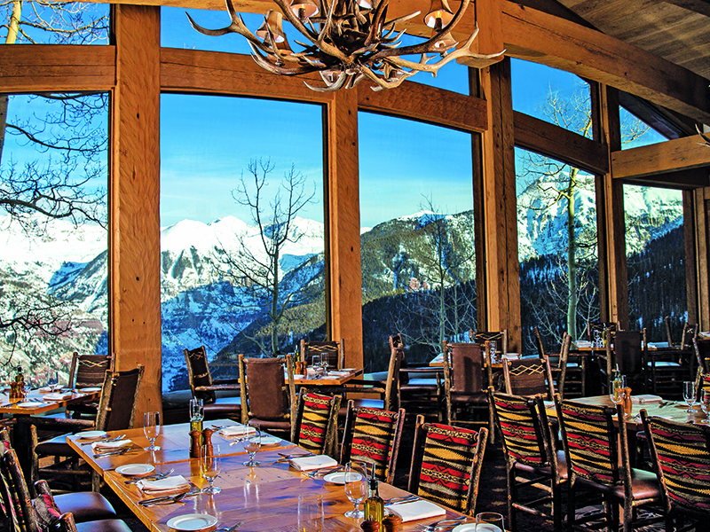 Breathtaking views accompany contemporary American cuisine at Allred's Restaurant, at Telluride Ski Resort, Mountain Village.