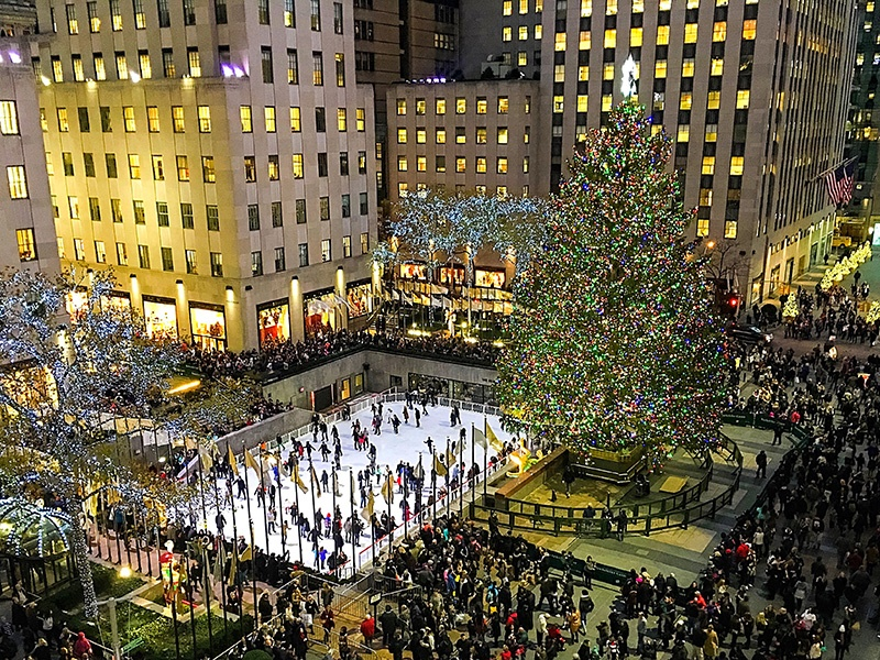 Covering 22 acres between 48th and 51st Streets, Rockefeller Center is vast. Every holiday season, an ice rink and giant Christmas tree are installed at Rockefeller Plaza. Photograph: Getty Images