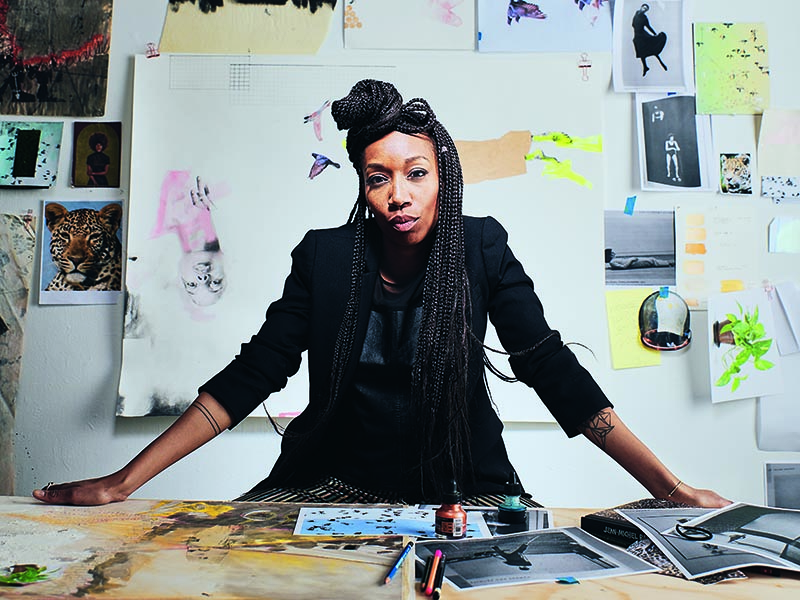 ruby onyinyechi amanze in her Philadelphia studio. Photograph: Laura Barosonizi