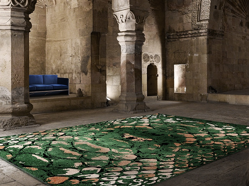 Rug'Society's Reptilus design— with its sharp green tones and unconventional pattern—is a fine example of the brand's bold, graphic style.